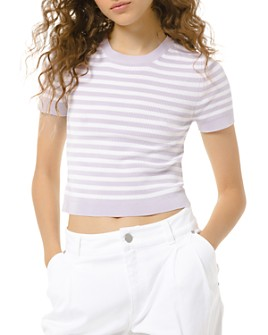 MICHAEL Michael Kors - Candy Striped Cropped Tee