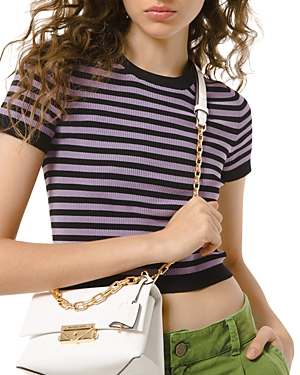 Michael Michael Kors Candy Striped Cropped Tee-Women