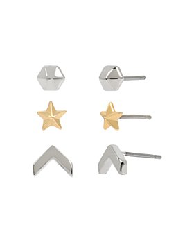 ALLSAINTS - Two-Tone Arrow & Star Stud Earrings Set, Set of 3