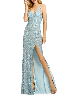 Mac Duggal Sequined Fishtail Gown-Women