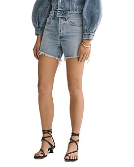 AGOLDE - Reese Cotton Frayed Denim Shorts in Wonder
