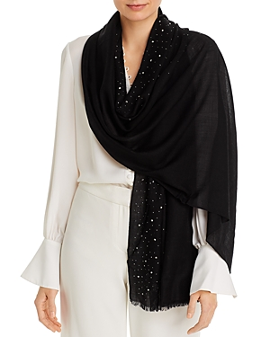 Fraas Solid Sparkle Wool & Cashmere Wrap Scarf