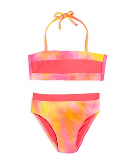 Clements Twins x PQ Swim - Girls' Colorblocked Two-Piece Swimsuit, Little Kid, Big Kid - 100% Exclusive