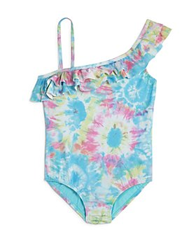 Clements Twins x PQ Swim - Girls' One-Shoulder One-Piece Swimsuit, Little Kid, Big Kid - 100% Exclusive