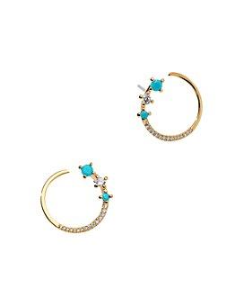 Nadri - 18K Gold-Plated Pavé & Stone Hoop Earrings