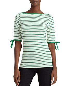 Ralph Lauren - Striped Bow-Sleeve Top