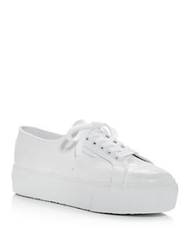 Superga - Women's Croc-Embossed Low-Top Platform Sneakers