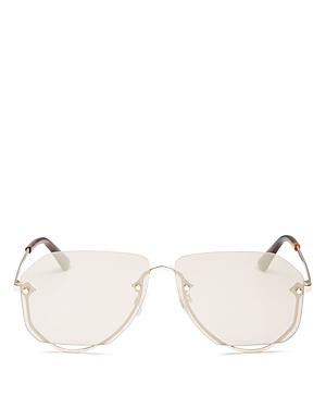 McQ Alexander McQueen Unisex Rimless Aviator Sunglasses, 63mm