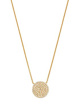 "Moon & Meadow - 14K Yellow Gold Diamond Pavé Oval Pendant Necklace, 15-17"" - 100% Exclusive"