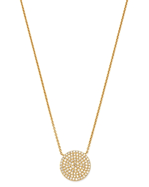 Moon & Meadow 14K Yellow Gold Diamond Pave Oval Pendant Necklace, 15-17 - 100% Exclusive