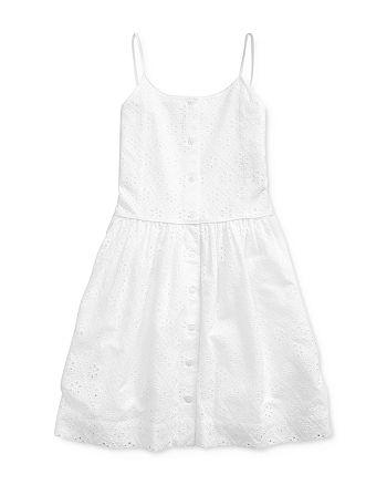Ralph Lauren - Girls' Eyelet Fit-and-Flare Dress - Big Kid