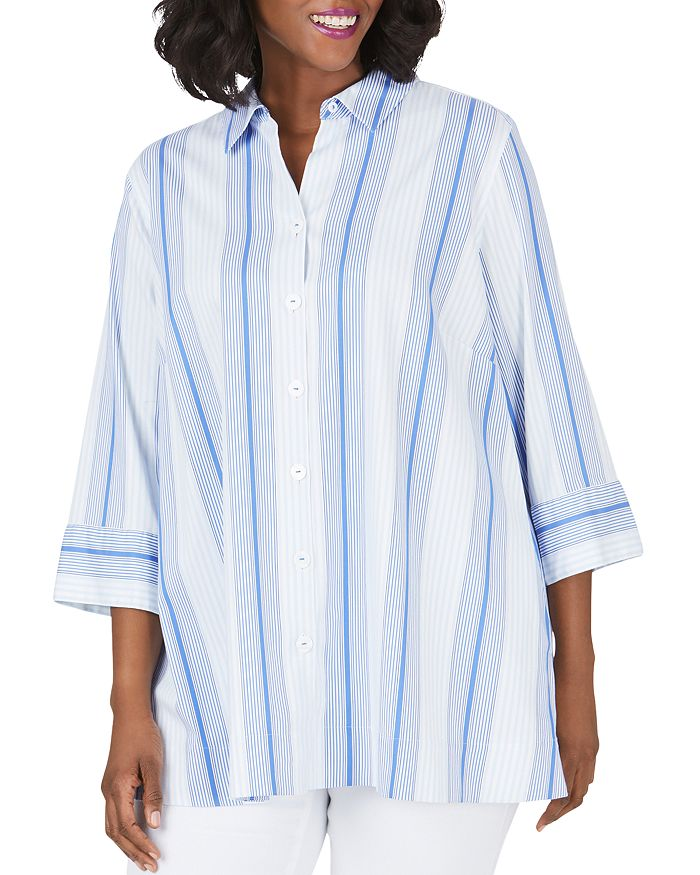Foxcroft Plus - Lila Striped Shirt Tunic