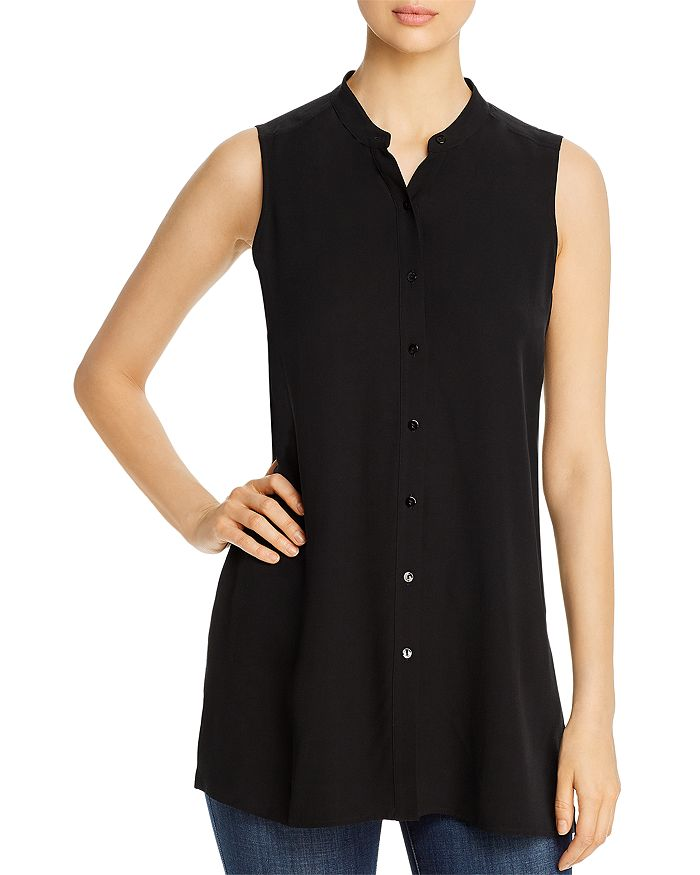 Eileen Fisher - Mandarin-Collar Silk Sleeveless Shirt