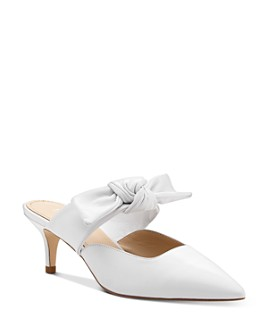 Botkier - Women's Pina Bow-Accented Suede Kitten Heel Mules