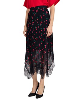 The Kooples - Naive Cherry-Print Pleated Skirt