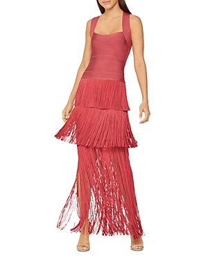 Herve Leger Tiered Fringed Gown