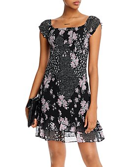 AQUA - Floral-Printed Smocked Dress - 100% Exclusive