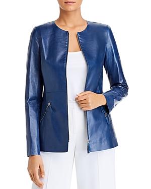 Lafayette 148 New York Roger Zip-Front Leather Jacket-Women