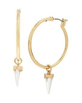 ALLSAINTS - Gold-Tone Crystal Arrow Hoop Earrings