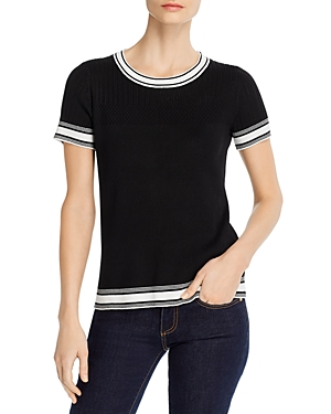 Karl Lagerfeld Paris Contrast Trim Short-Sleeve Sweater-Women