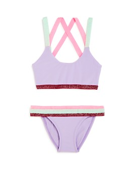 PQ Swim - Girls' Sport Color-Blocked Two-Piece Swimsuit - Little Kid, Big Kid