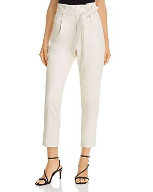 Faux Leather Paperbag-Waist Pants