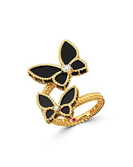 Roberto Coin - 18K Yellow Gold Onyx & Diamond Butterfly Bypass Ring - 100% Exclusive