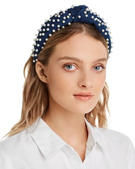 Lele Sadoughi - Embellished Denim Knotted Headband