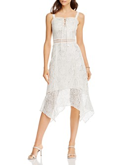 AQUA - Lace-Up Lace Midi Dress - 100% Exclusive
