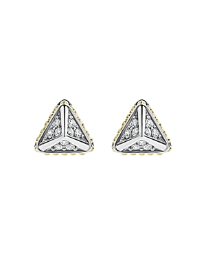Lagos 18K Yellow Gold & Sterling Silver Diamond Triangle Stud Earrings