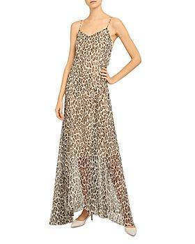 Theory - Silk Leopard Print Maxi Dress