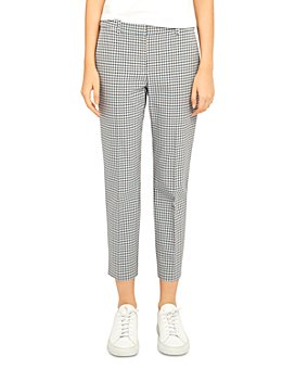 Theory - Treeca Check Print Stretch Cropped Pants