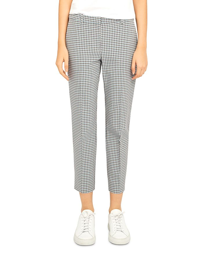 Theory CHECK PRINT ANKLE PANTS