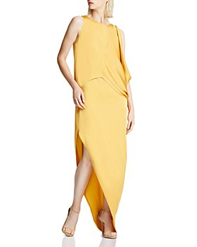 HALSTON - Draped Asymmetric Gown
