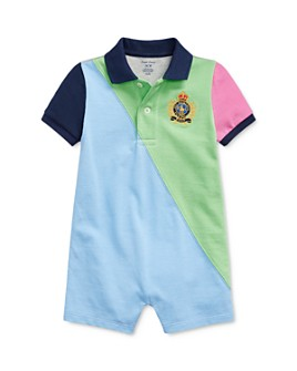 Ralph Lauren - Boys' Cotton Color-Blocked Embroidered Crest Polo Shortalls - Baby
