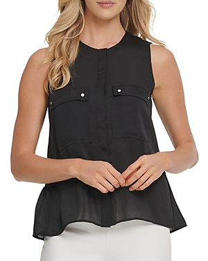 Dkny Sleeveless Front-Pocket Top