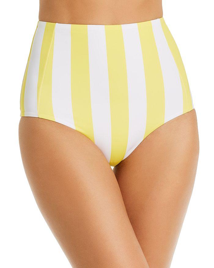 Verdelimon Banes Striped High-waist Bikini Bottom In Yellow Stripes