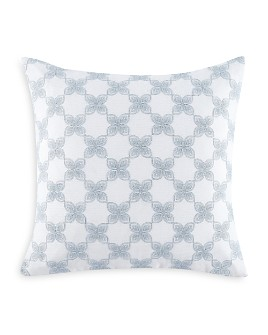 """Charisma - Celini Geo Floral Embroidered Decorative Pillow, 18"""" x 18"""""""