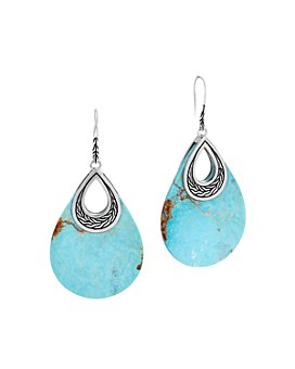 JOHN HARDY - Sterling Silver Classic Chain Turquoise Oval Drop Earrings