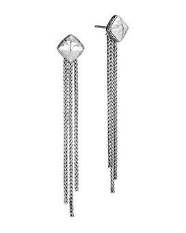 JOHN HARDY - Sterling Silver Classic Chain Hammered Tassel Drop Earrings