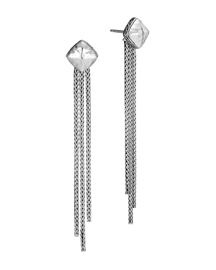 JOHN HARDY - Sterling Silver Classic Chain Hammered Tassel Drop Earrings