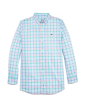 Vineyard Vines Boys\\\' Palm Beach Cotton Plaid Whale Shirt - Little Kid, Big Kid-Kids
