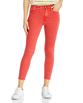 FRAME - Le High Cropped Skinny Jeans in Washed Cherry - 100% Exclusive