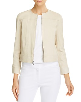 Theory - Collarless Leather Jacket