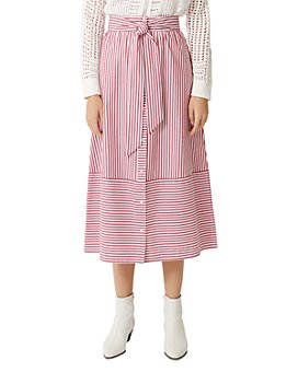 Maje - Jousse Striped Tie-Front Cotton Midi Skirt