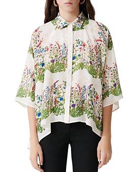 Maje - Cypres Floral-Print Silk Shirt