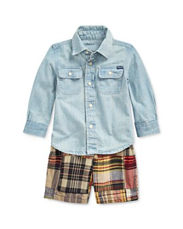 Ralph Lauren - Boys' Cotton Chambray Shirt & Madras Plaid Shorts Set - Baby