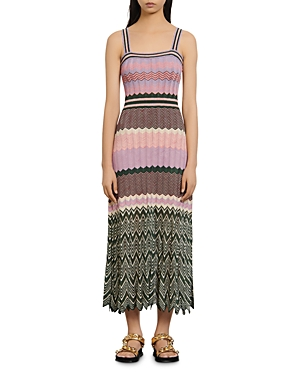 Sandro Sonya Chevron-Knit Midi Dress-Women