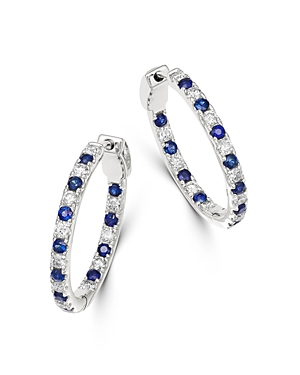 Bloomingdale's Blue Sapphire and Diamond Inside Out Hoop Earrings in 14K White Gold - 100% Exclusive