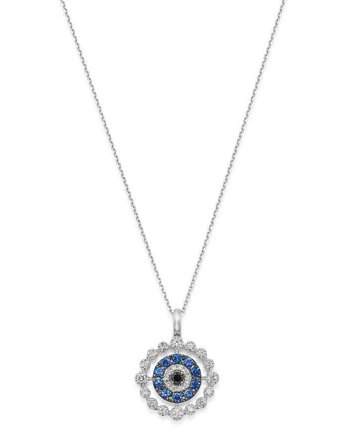 """Bloomingdale's - Blue Sapphire & Diamond Evil Eye Pendant Necklace in 14k Yellow Gold, 16"""" - 100% Exclusive"""